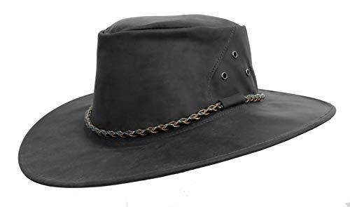 Kakadu Australia The Roo Traveller Leather Hat-Kangaroo Leather Made in Australia Charcoal]()