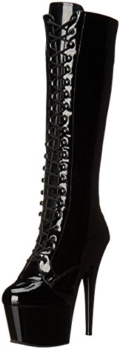 Pleaser Women's Adore-2023 Boot,Black Stretch Patent/Black,11 M (Patent Knee Boot)