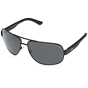 Armani Exchange Men's Metal Man Sunglass 0AX2012S Aviator Sunglasses, Satin black/black, 62 mm