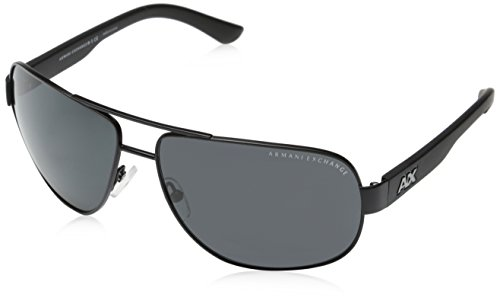 Armani Exchange Men's Metal Man Sunglass 0AX2012S Aviator Sunglasses, Satin black/black, 62 - Sunglasses Designer Man