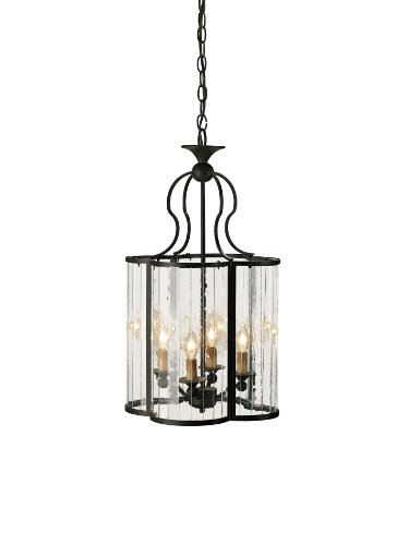 Currey and Company 9469 Rupert 4-Light Hanging Lantern, Old Iron Finish with Curved Multi-Panel Glass Sides - Curved Iron Finish
