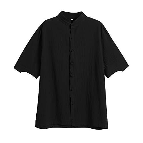 Men Short Sleeve Henley Shirt Summer Blouse Leisure Beach Yoga Loose Fit Tops (Polo Stripe Pique Bar)