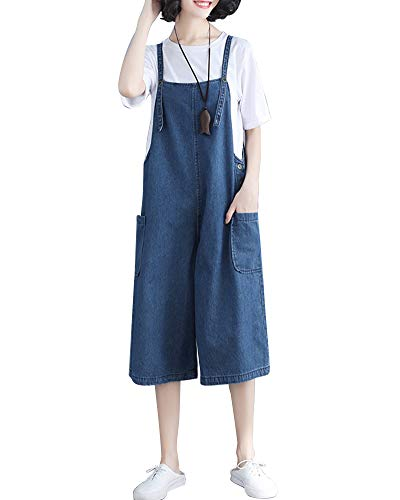 Mujeres Babero Jeans Bib Jumpsuits con Bolsillo Pantalón Largos Vaquero Pierna Ancha Azul