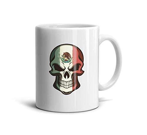 Leopoldery Mexican Skull Tattoo Flag Halloween Makeup Ceramic Mug 10 Ounce Coffee Cup for Mothers and -