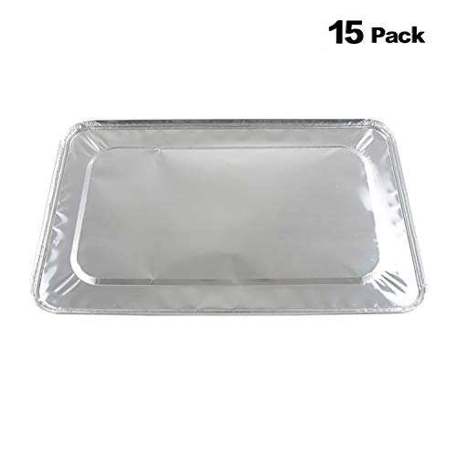 XIAFEI Disposable Aluminum Oblong Foil Steam Table Pans, Full Size Deep, Heavy Duty Roaster Pans (15 Pack)