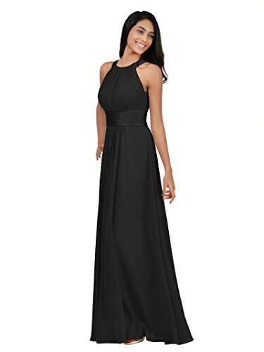 Alicepub Chiffon Petite Bridesmaid Dresses Long for Women Formal Evening Party Prom Gown Halter Petite, Black, US2 (Black Chiffon Gown)