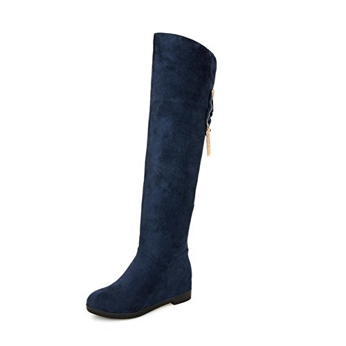 AgooLar Women's High-top Solid Pull-on Round Closed Toe Kitten-Heels Boots with Glass Diamond Blue pXkpY9uwA