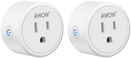 Smart Plug AWOW Mini Smart Socket WiFi Outlet 10A Compatible with Alexa, Google Home and IFTTT, No Hub Required,Remote Control Your Home Appliances from Anywhere, Only Supports 2.4GHz Network(2-Pack)