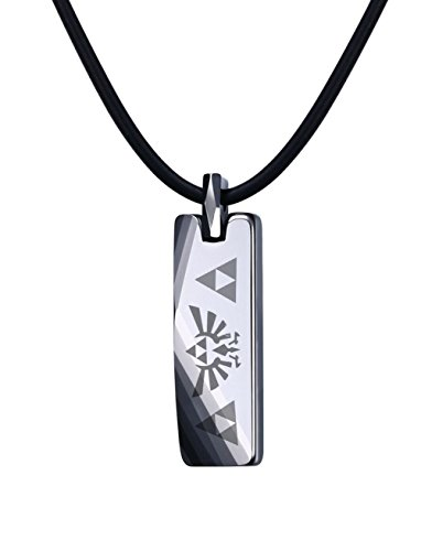 Mealguet Jewelry Tungsten Carbide Polished Vertical Bar Legend of Zelda Triforce Pendant Necklace with Black Cord (Game Mens Video Necklace)