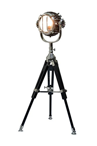 Brass Nautical Searchlight With Wooden Tripod Floor Lamp