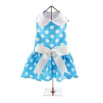Blue Polka Dot Dress w/Leach & D-Ring (Large) by DOGGIE DESIGN