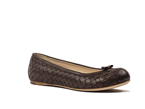 Bottega Veneta Intrecciato Leather Ballerina Flats, Chocolate Brown, 6.5