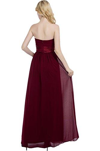 aermellos Abendkleid Partykleid Ballkleid modisch Weinrot Weinrot Ivydressing Traegerlos Falte lang Rueckenfrei Damen Chiffon BXqxwFHn