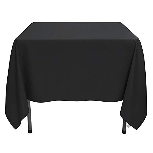 YRYIE 70 x 70 Inch Kitchen Tablecloth Square Black Solid Polyester Washable for Table Cloth,Great for Wedding,Buffet,Party, Baby Shower,Holiday Dinner