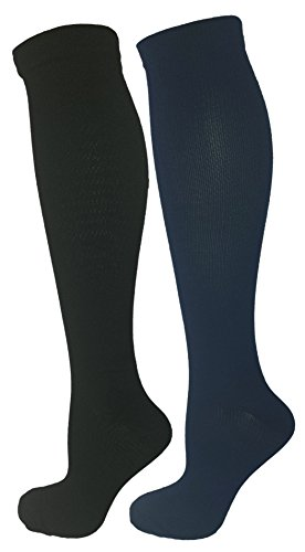 Black & Blue 2 Pair Large/X-Large Ladies Compression Socks, Moderate/Medium Compression 15-20 mmHg. Therapeutic, Occupational, Travel & Flight Knee-High Socks. Womens and Mens Hosiery