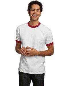 T-shirt Ringer Company - Port & Company - Ringer T-Shirt. PC61R - White/Red_M