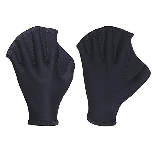 SENDOU Premium Neoprene Fingerless Webbed Flippers Gloves for Swimming, Diving, Boating,Training and Paddle (Black)