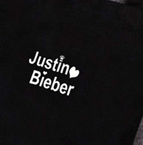 Wangc Bieber Justin In Borsa Shopping Tessuto Stampata Bag Viaggio Donna Con nero Tela Tracolla Da rrPnwqxa