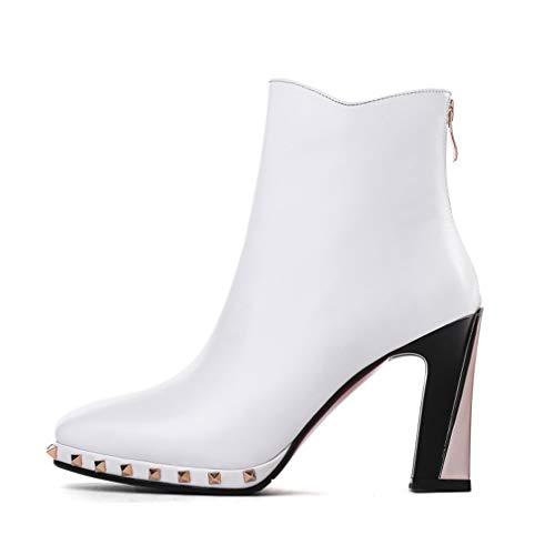 Cabeza Blanco Cuero Yan Altos Moda Para Inglaterra Cuadrados Tacones Negro Botas Martin Mujer Remaches De Zapatos Invierno Ásperos Otoño 1wHZXUqw