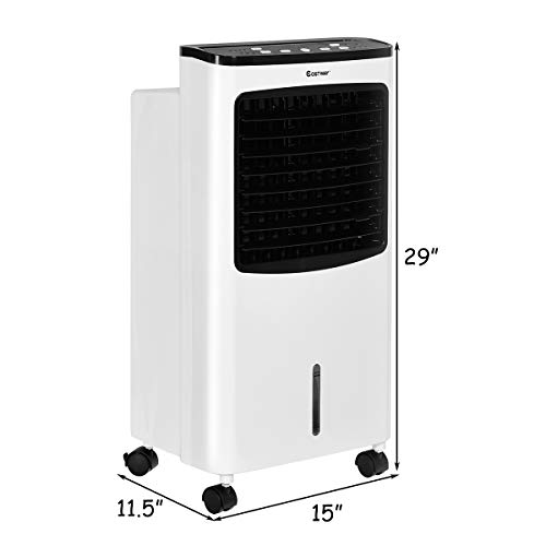 COSTWAY Evaporative Air Cooler, Portable Air Cooler with Fan & Humidifier Bladeless Quiet Electric Fan w/Remote Control for Indoor Home Office Dorms (29'' H) by COSTWAY (Image #5)