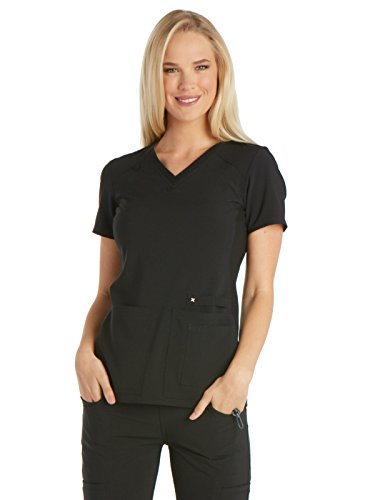 CHEROKEE Women's Iflex V-Neck Knit Panel Top, Black, X-Small from CHEROKEE