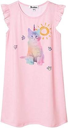 db67264b621b Girls Princess Nightgowns Flutter Sleeve Cotton Cat Sleepwear for Girls 7-16