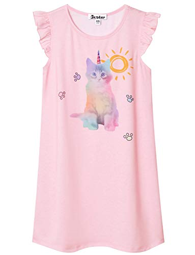 Little Girls Cat Nightgown Cotton Nightdress Sleepwear Pajamas for Kids