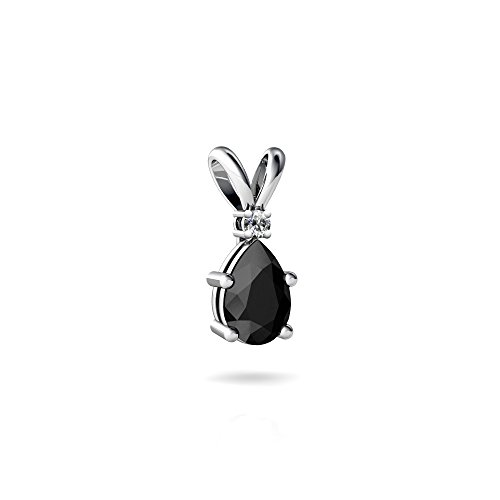 (14kt White Gold Black Onyx and Diamond 6x4mm Pear Solitaire Pendant )