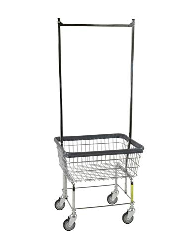 R&B Wire 96B58 Light-Duty Wire Frame Metal Laundry Cart with Double Pole Rack - Chrome from R&B Wire Products