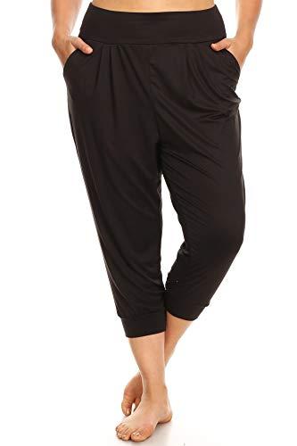 - ShoSho Womens Plus Size Activewear Sports Leggings Yoga Pants Capri Harem Jogger Cropped Pants Black 3X