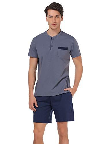 (Aibrou Men's Short Sleeves and Shorts Cotton Pajama Set Sleepwear Lounge Set Summer, Dark Gray Blue XXL)