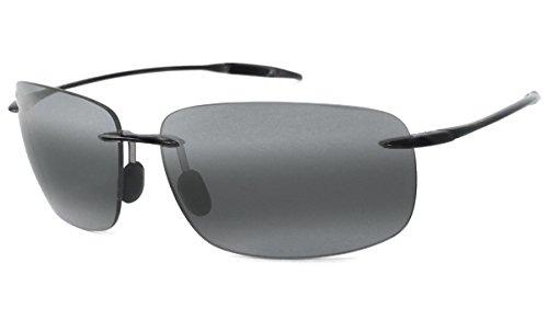 29ac4ed62f45 MAUI JIM BREAKWALL 422 422-02 Polarized Aviator Sunglasses, Gloss Black  Frame/Polarized