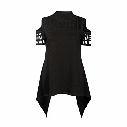 QIYUN.Z Camisetas de Manga Corta Algodón Blusa de Fiesta Negro
