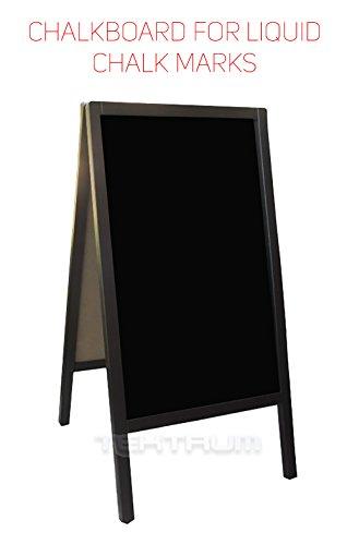 Tektrum Large Sturdy Advertising Double-Side Sidewalk A-Frame Dark Wood Sandwich Sign Board 20''x40'', Free Standing, Easy Erase Writing Surface, For Restaurants Pavement - Liquid Chalk Use by Tektrum