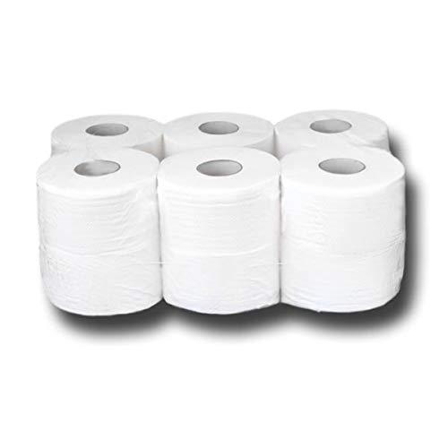 Mini Jumbo toiletpapier, mini-jumborollen, grote rollen van cellulose, 2-laags, hoogwit, 100% cellulose, lengte ca. 150…
