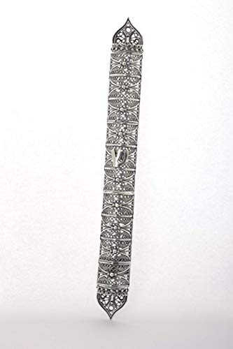 - Handmade large Yemenite style mezuzah case oxidized 925 sterling silver filigree