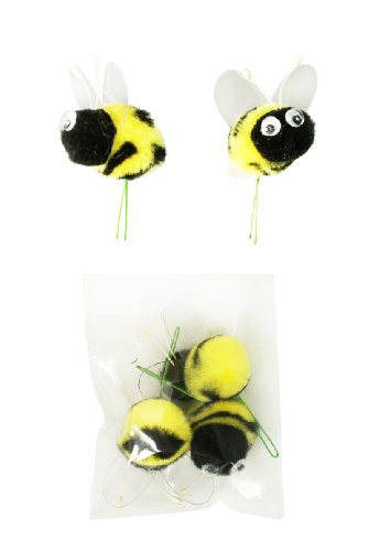 Pompom Bumble Bees Black&yellow W/googly Eyes Craft Spring Easter Floral Picks 6/pkg