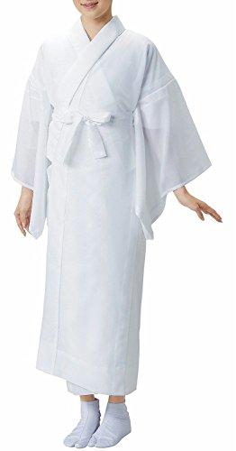 【衿芯&腰紐付き】夏用お仕立て上がり洗える長襦袢絽≪掛け衿付き≫夏用盛夏レディース白色MLサイズ仕立て上がり下着肌着和装(M)