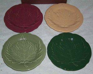 Longaberger Set of 4 Falling Leaves Leaf Plates in 4 Colors