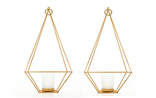 (Hosley Set of 2 Gold Finish Tealight/Votive Holder Lantern with Votive Frosted Candle Holder- 11.5