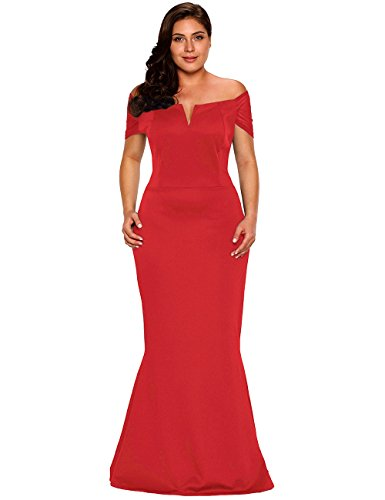 off shoulder red evening dress - 8