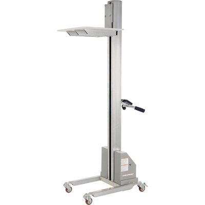 Vestil PEL-100-A DC-Powered Quick Lift, Aluminum, 18-1/2'' x 23-1/2'' Platform, 125 lb. Capacity