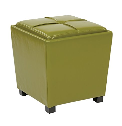 Office Star Metro 2-Piece Storage Ottoman Cube Set in Eco Leather, Kiwi Green