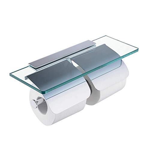 (SANLIV Double Roll Toilet Paper Holder, Hotel Bathroom 2 Roll Tissue Dispenser with Glass Shelf and Two Covers in Polished Chrome)