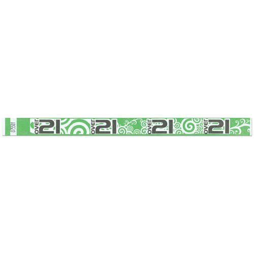 Tyvek Wristbands - Over 21 Pattern - Bar - Night Club - Alcohol Serving Events - Green Color - 500 Pieces of Wristbands per Box by Precision Dynamics