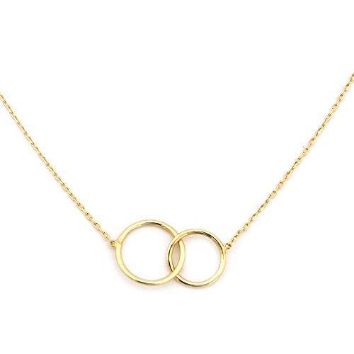 - 14k Yellow Gold Tiny Delicate Interlocking Circles 16