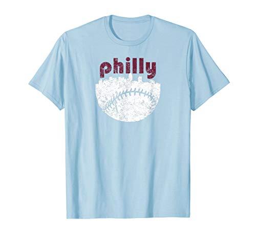 Philadelphia Baseball City Skyline Vintage Philly Tshirt