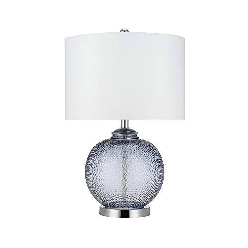 Catalina Lighting 21544-000 Transitional 3-Way Round Hammered Metal Look Glass Table Lamp with Linen Shade, 23.5