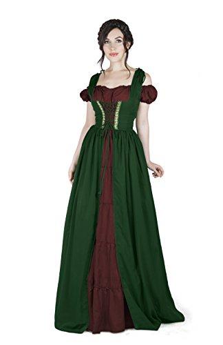 Renaissance Medieval Irish Costume Over Dress & Boho Chemise Set (2XL/3XL, Hunter Green/Burgundy) (Medieval Dresses)