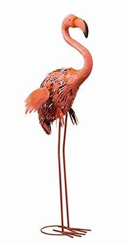 Lieblich Moderne Gartenskulptur Gartenfigur Flamingo Aus Metall Stehend Höhe 86 Cm